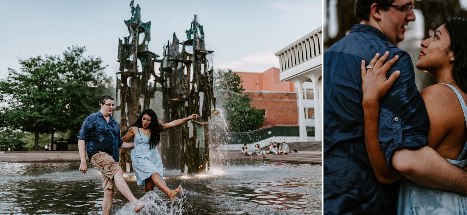 Princeton Library Fountain Engagement Session photos