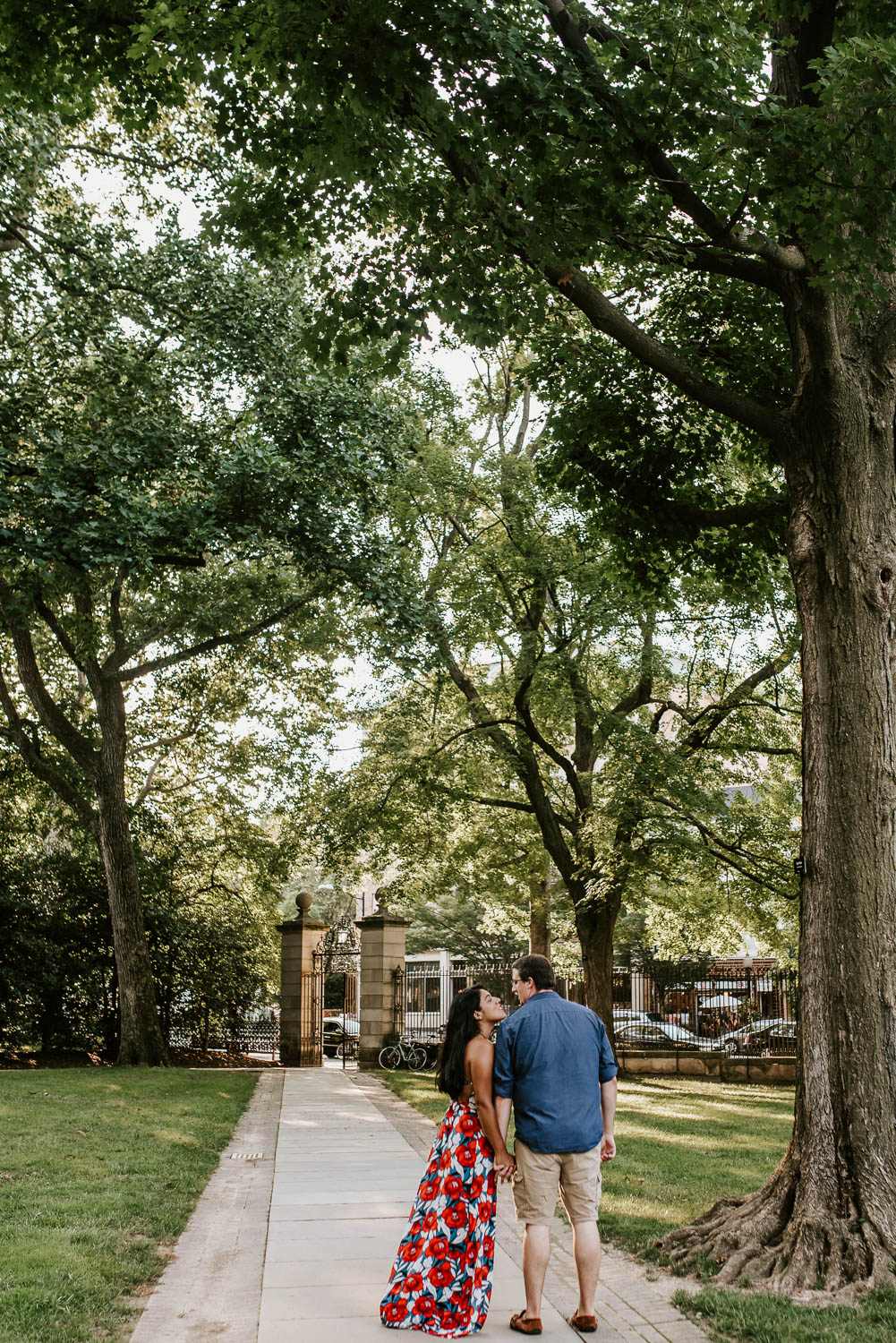 Couple standing in front of main entrance of Princeton University