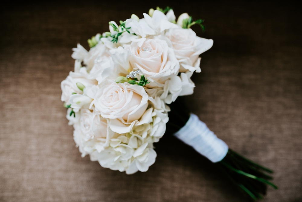 All white wedding bouquet, New Jersey Wedding