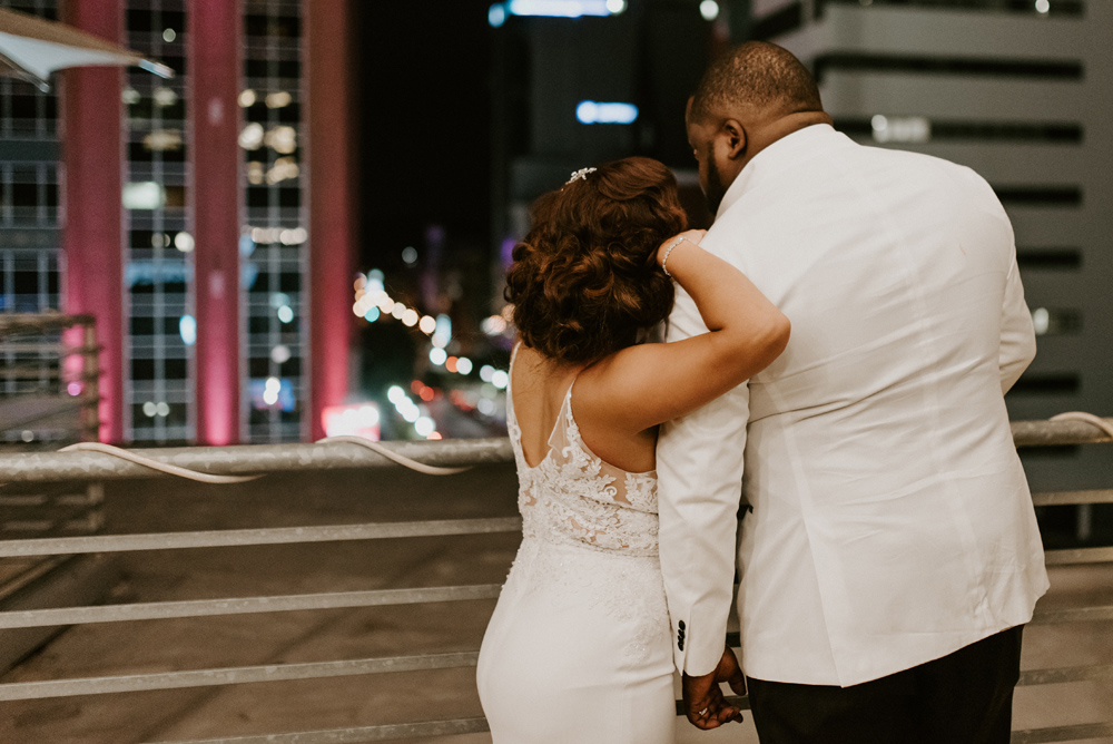 Bride and Groom night photography with city lights