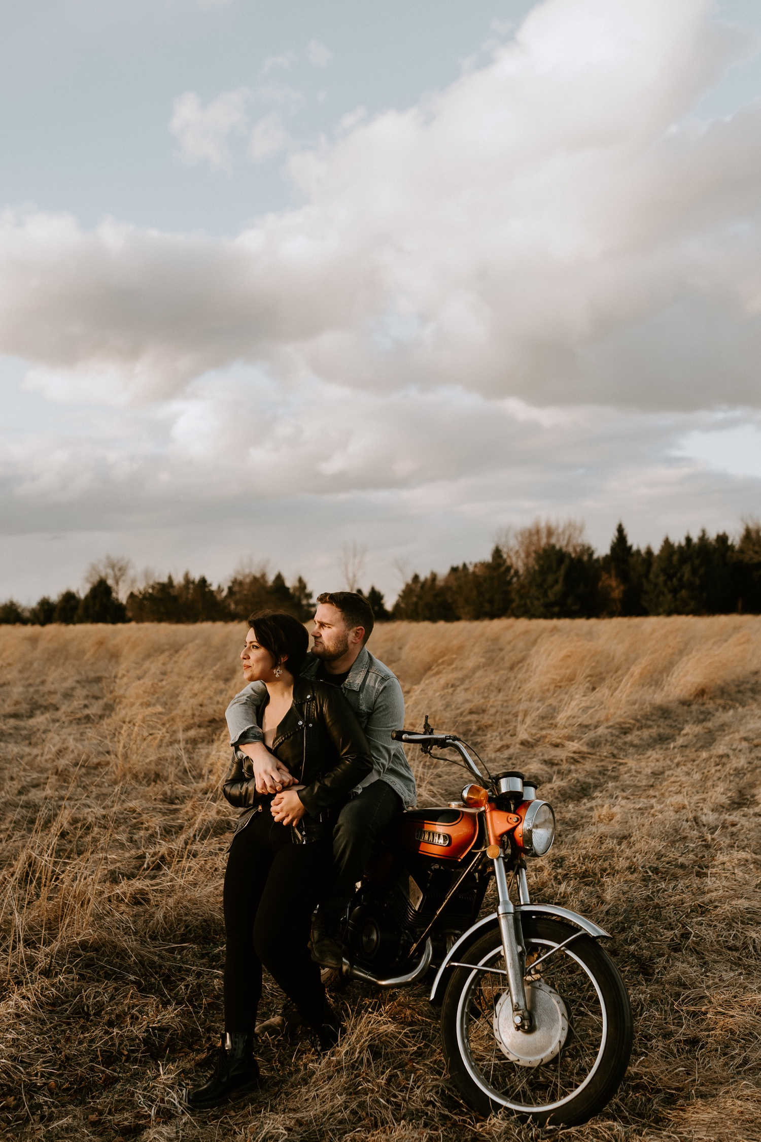 02 Andrea+Mike 204 Couple Session Vintage Motorcycle Edgy Engagement Session