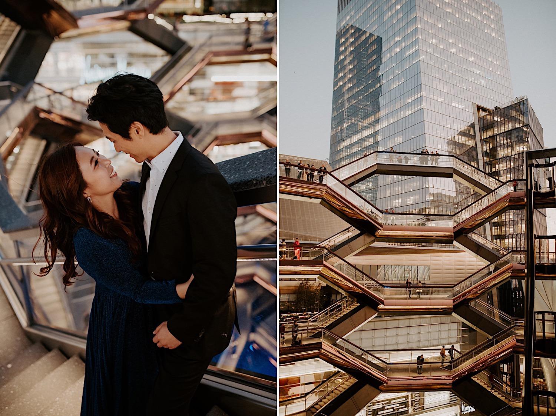 027 The High Line Engagement Photos The Vessel Enagement Photos New York City Wedding Photographer.